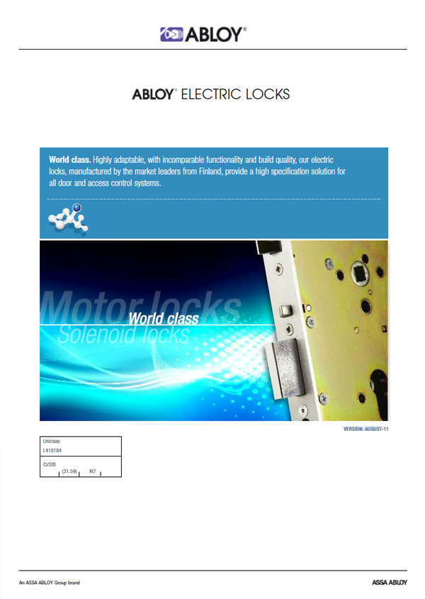 Abloy Electric Locks Brochure