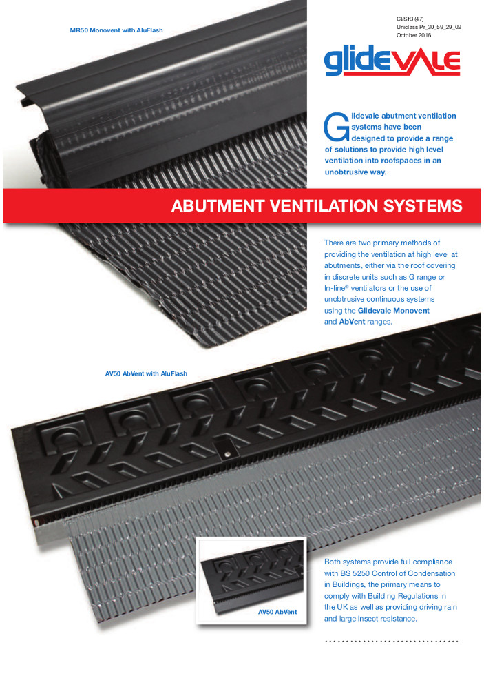 Abutment Ventilation Systems – Roofspace ventilation  Brochure