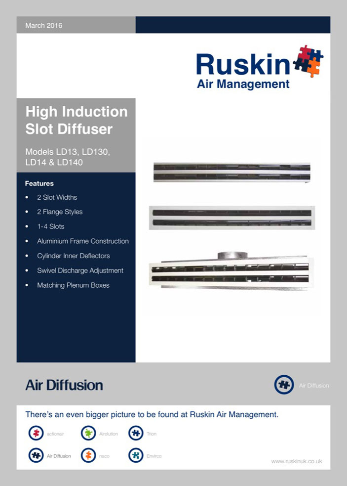 Air Diffusion High Induction Slot Diffuser Brochure