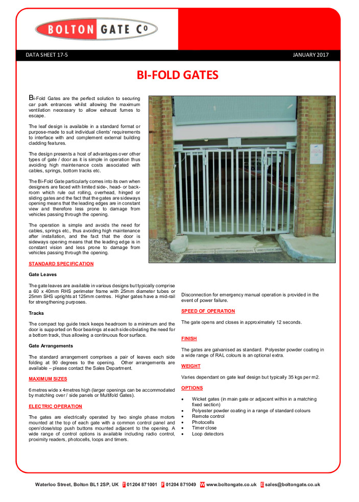 Bi-Fold Gates Brochure