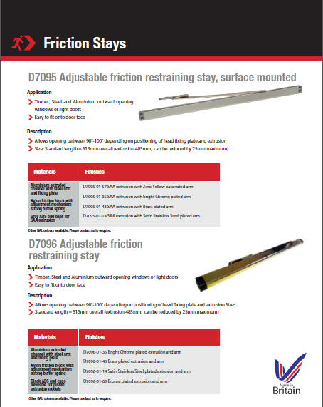 Adjustable Friction Restraining Stay D7095 Surface Mounted Brochure