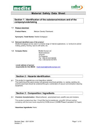 MSDS - Medite Ecologique Brochure