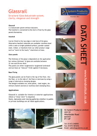 Glassrail data sheet Brochure