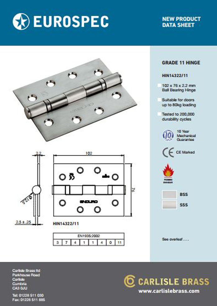 Eurospec Grade 11 Hinge HIN14322 Data Sheet Brochure