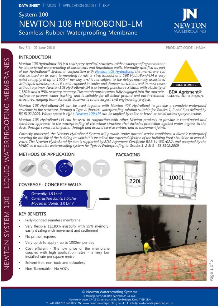 Newton 108 Hydrobond-LM Brochure