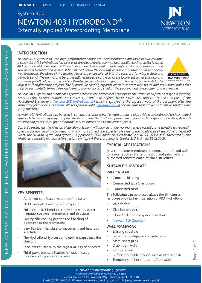 Newton 403 Hydrobond® Brochure
