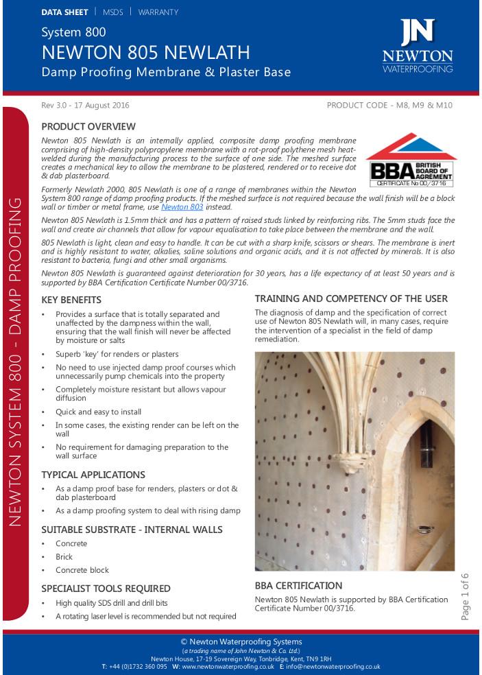Newton 805 Newlath  Brochure