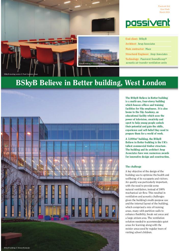 BSkyB Believe in Better building, West London Brochure