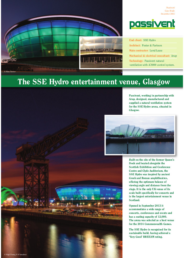 The SSE Hydro entertainment venue, Glasgow Brochure