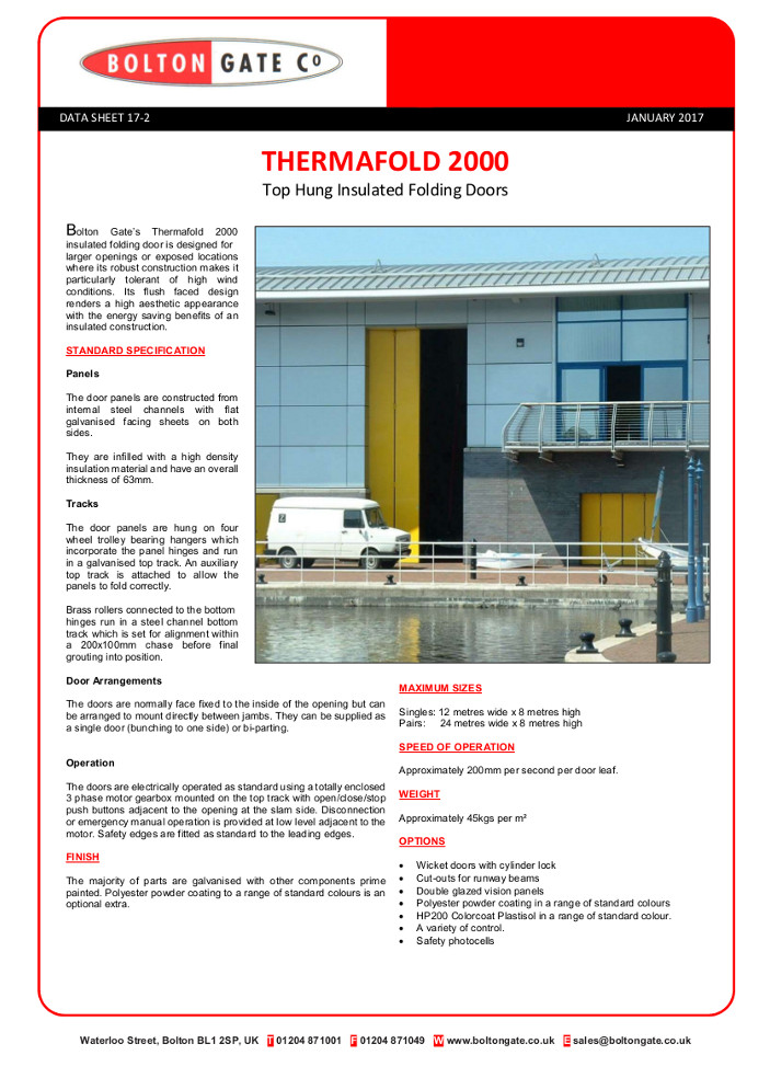 THERMAFOLD 2000 Top Hung Insulated Folding Doors data sheet Brochure
