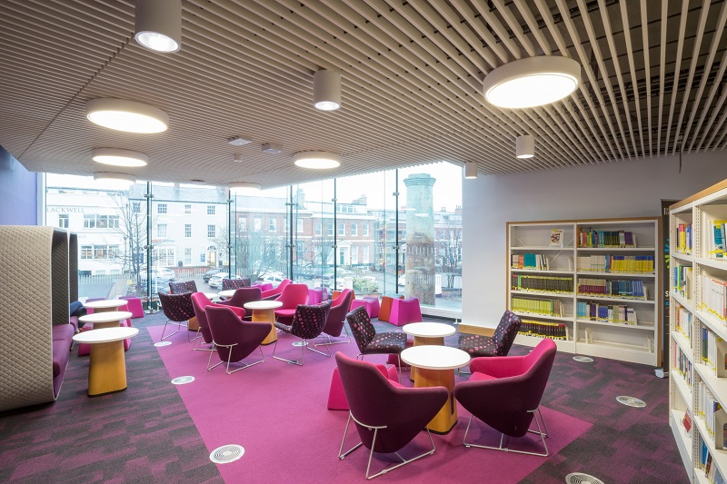 University library features dramatic Hunter Douglas ceiling