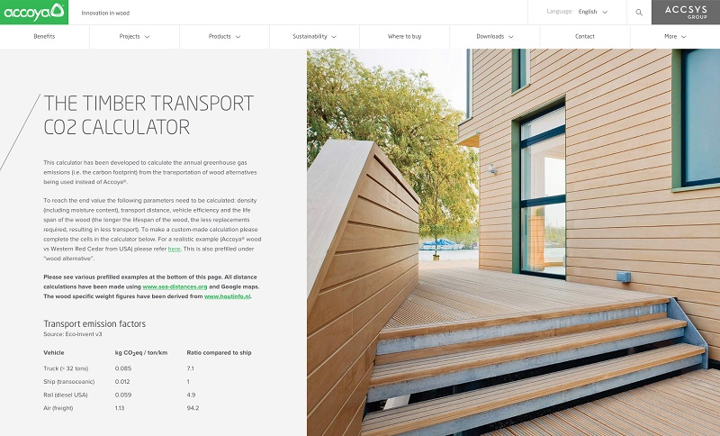 New online tool shows Accoya's carbon footprint